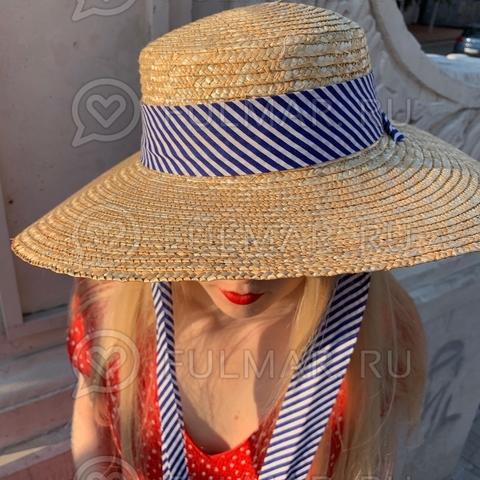 Большая оригинальная Соломенная шляпа с широкими полями и голубой лентой женская