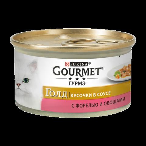 Gourmet Gold Консервы для кошек с Форелью и овощами , Кусочки в соусе