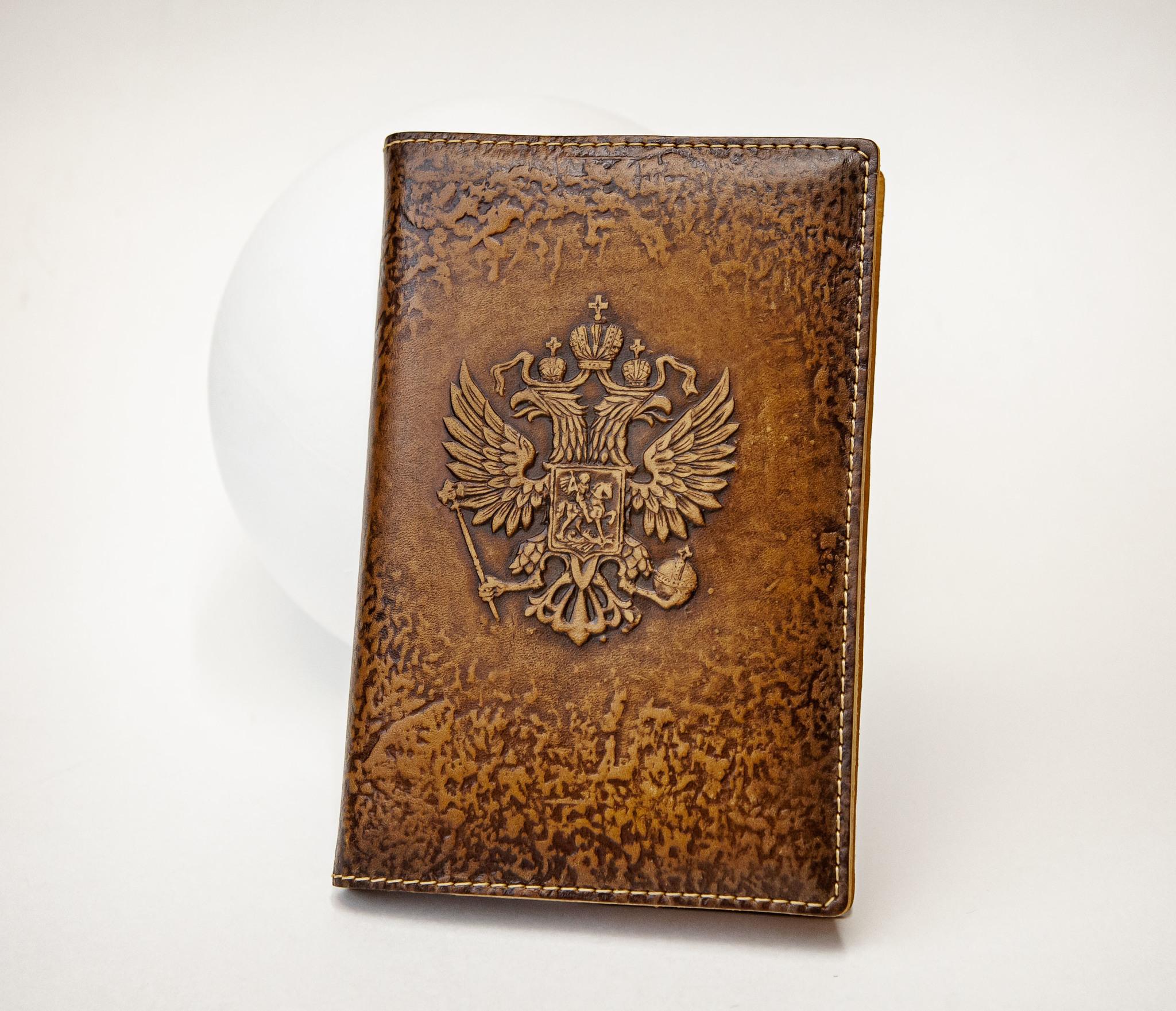 Кожаный ежедневник «Герб России» со сменным блоком (А6)