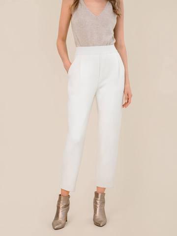 Женские брюки молочного цвета из 100% шерсти - фото 4