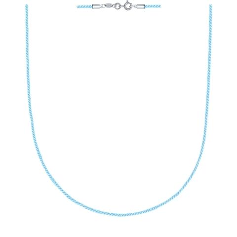 94070144- Текстильный шнур- голубой для подвесок с замочками из  серебра