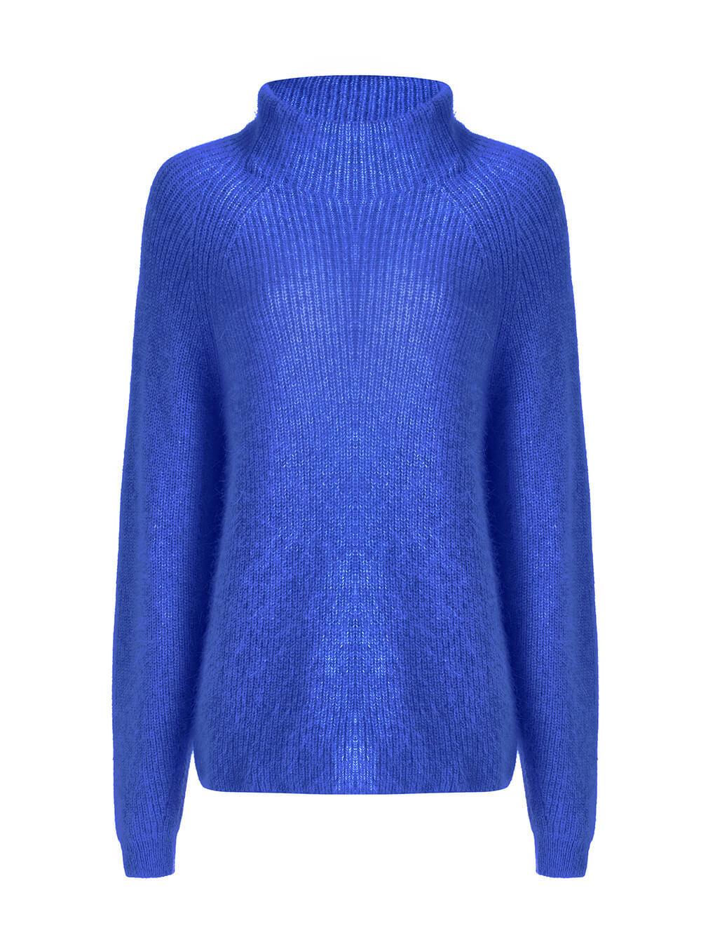 Женский свитер синего цвета из ангоры - фото 1