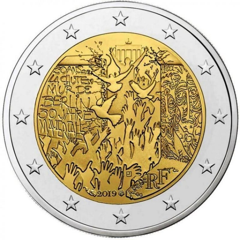 2 евро. 30-летие падения Берлинской стены. Франция. 2019 г.