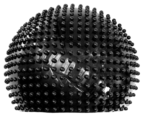 Semisphere, black, glossy, with small spheres, Ø = 0,06m