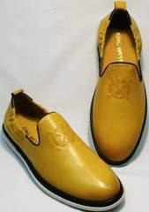 Молодежные туфли мужские летние King West 053-1022 Yellow-White.