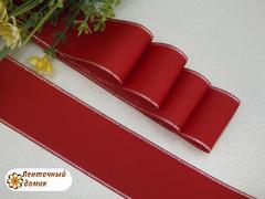 Лента репсовая Красная с люрексовой серебряной каймой 38 мм