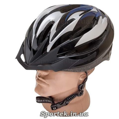 Велошлем длявзолслих чорно-сіро-синього кольору