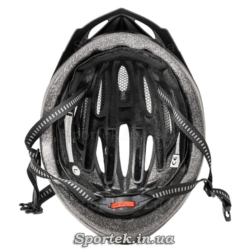 Вид всередині крос-кантрійного велошлема чорно-сіро-синього кольору
