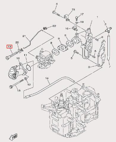 Ручка воздушной заслонки для лодочного мотора F9,9 Sea-PRO (6-19)