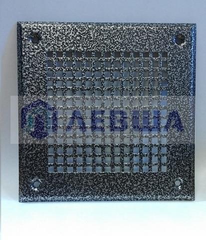 Решётка 150х150 мм, серебро, перфорация крупный квадрат