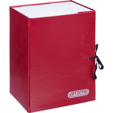 Папка архивная Attache А4 из бумвинила красная 150 мм (складная, 2 х/б завязки, до 1500 листов)