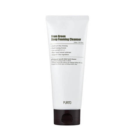 Слабокислотная пенка с центеллой и зеленым чаем Purito From Green Deep Foaming Cleanser
