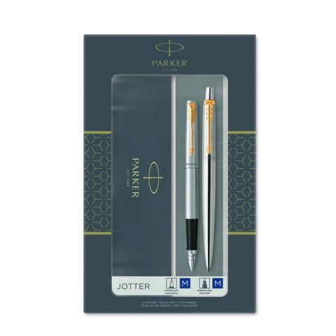 Подарочный набор из 2-х ручек  Parker Jotter Stainless Steel GT перьевая+шариковая ручки123
