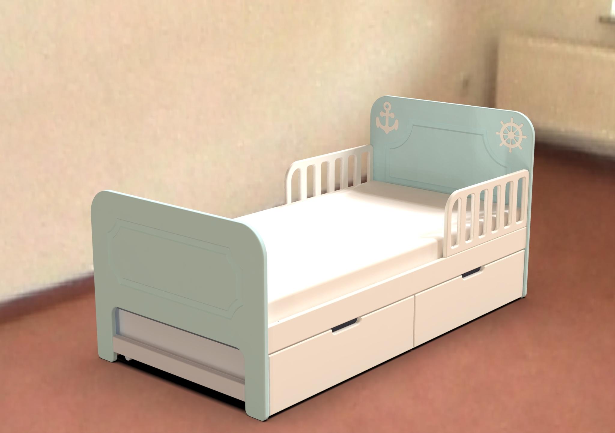 Кровать с ящиками Море Голубая