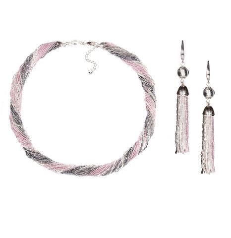 Комплект украшений серо-розовый (длинные серьги из бисера, бусы из бисера 24 нити)