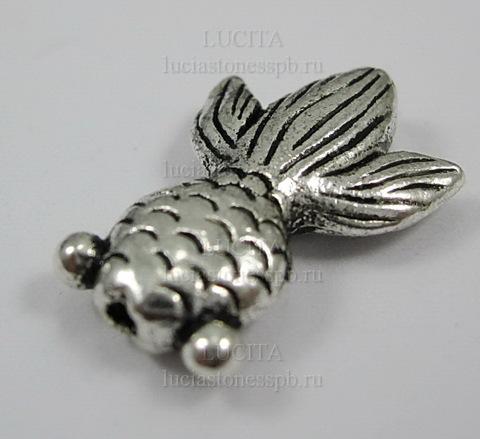 """Бусина металлическая """"Рыбка"""" 24х17 мм (цвет - античное серебро) ()"""