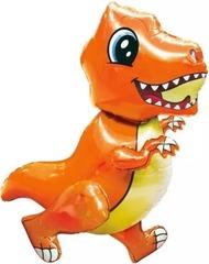 Шар (30''/76 см) Ходячая Фигура, Маленький динозавр, Оранжевый, в упаковке 1 шт.