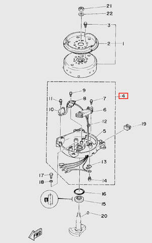Основание магнетто для лодочного мотора T5 Sea-PRO (5-4)