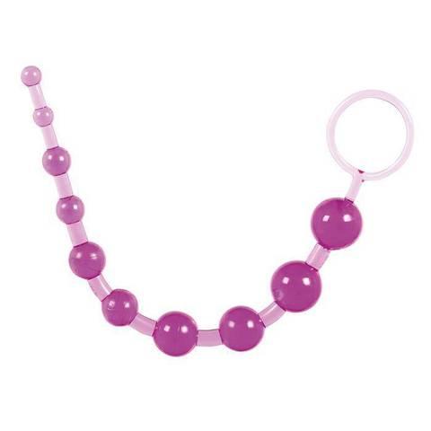 Фиолетовая анальная цепочка с кольцом - 25 см. - ToyFa Basic 881302-4