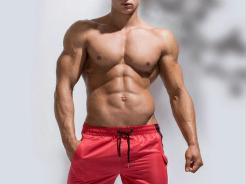 Мужские шорты красные с черной вставкой и карманом сбоку UXH B9204