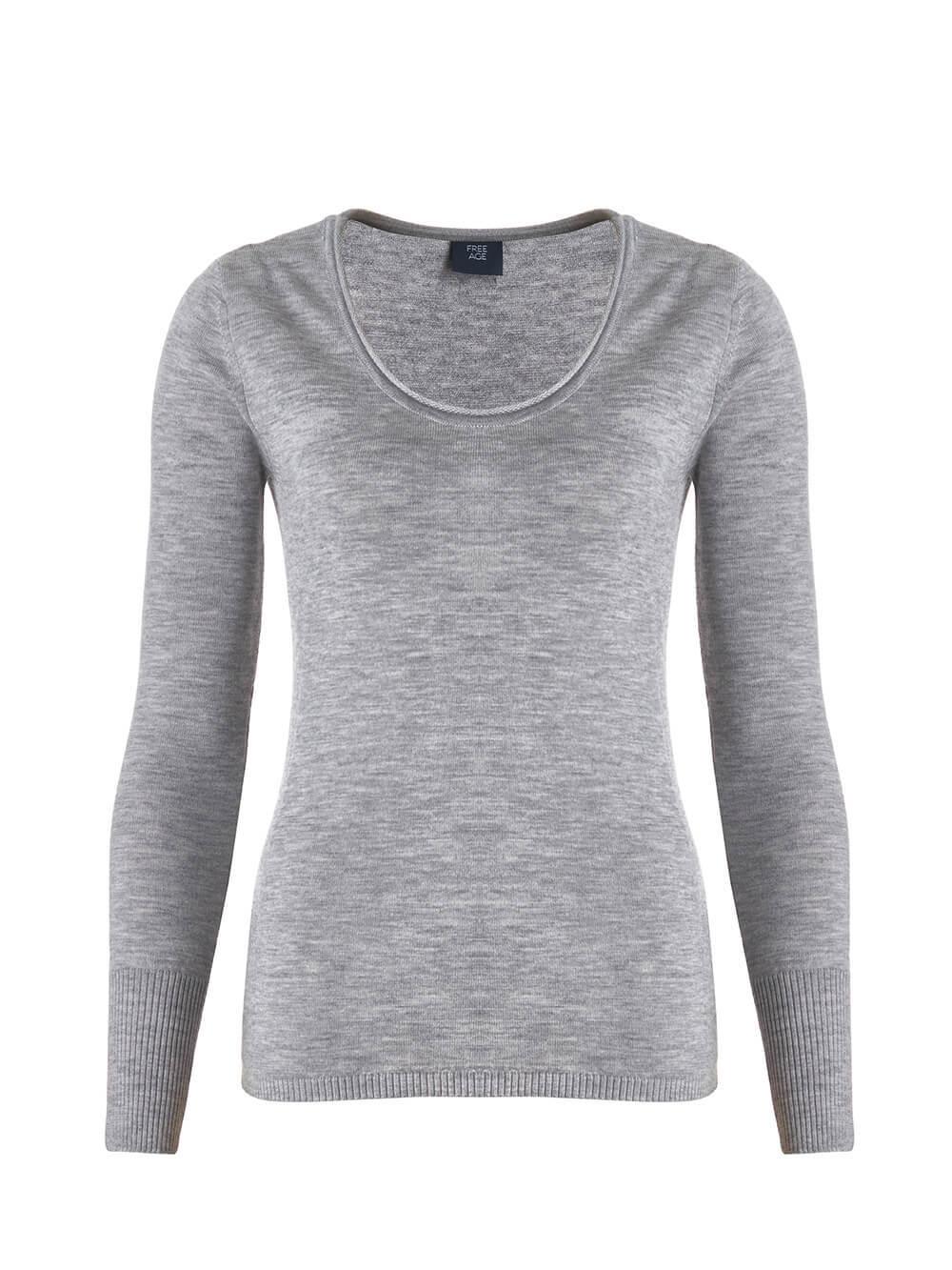 Женский джемпер светло-серого цвета из 100% кашемира - фото 1