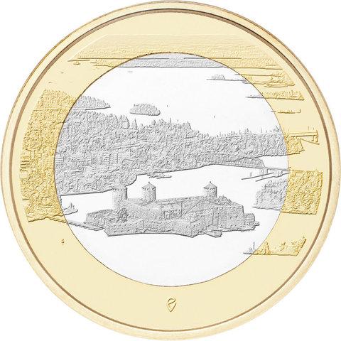 """5 евро Финляндия """"Финские национальные ландшафты - крепость Олавинлинна"""" 2018 год"""