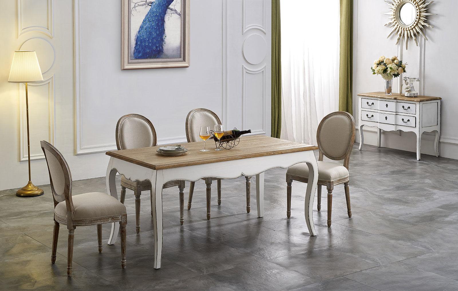Стол ESF FL-1004C белый, Стулья ESF FL0007 и Буфет ESF FL-3001 white F2 (белый)