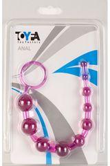 Фиолетовая анальная цепочка с кольцом - 25 см. -