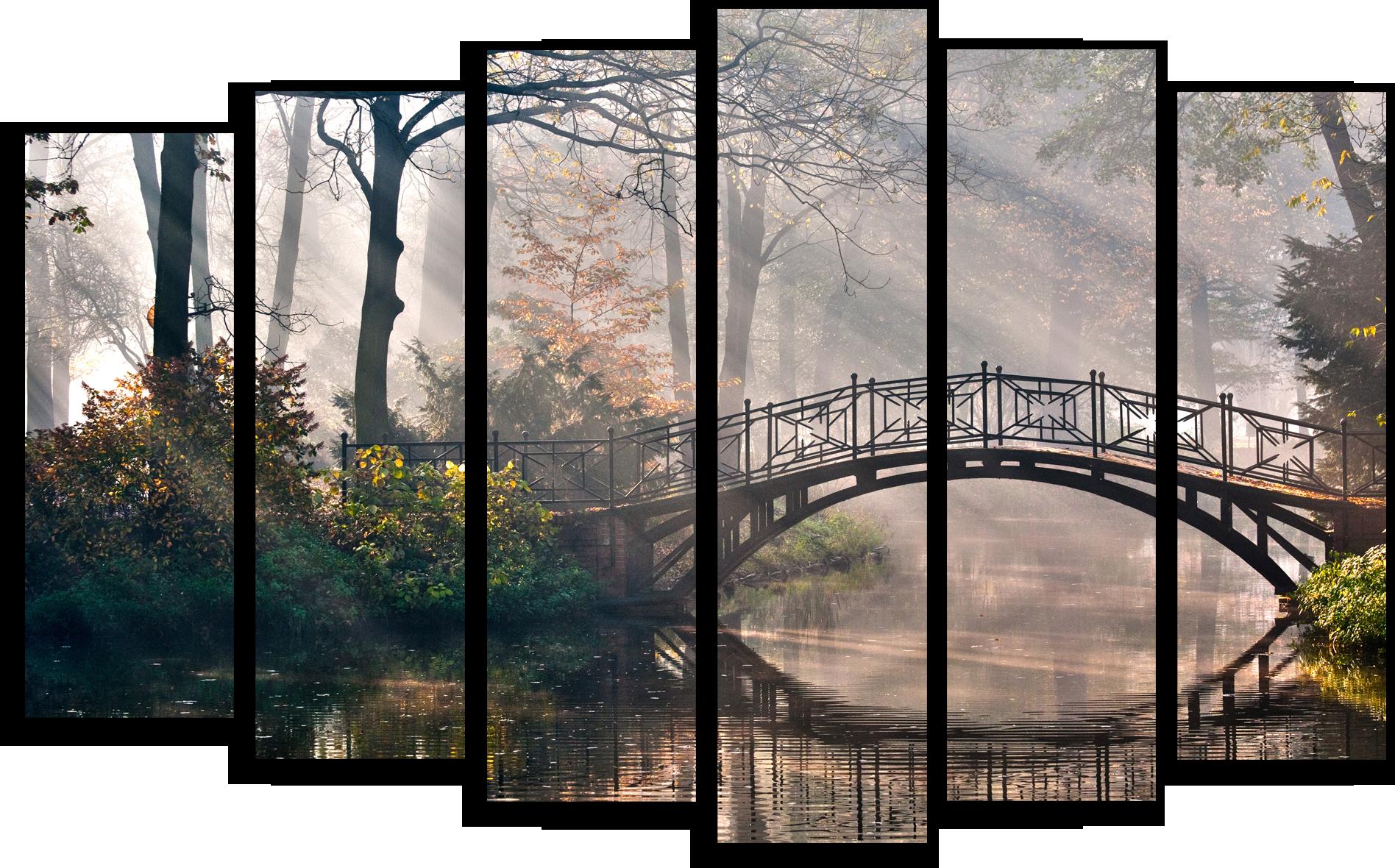 """Природа Модульная картина """"Мостик в парке"""" М371.png"""