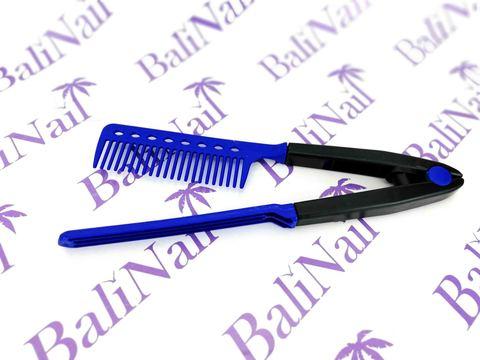 Многофункциональная расчёска для выпрямления волос и придания объёма (синяя)