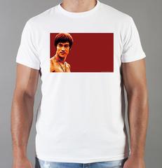 Футболка с принтом Брюс Ли (Bruce Lee) белая 0016