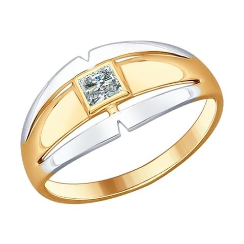 93010602 - Кольцо из золоченого серебра с фианитом