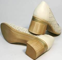 Модные туфли босоножки на толстом каблуке Sturdy Shoes 87-43 24 Lighte Beige.