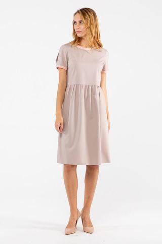 Фото полуприлегающее светлое платье до колена с коротким рукавом - Платье З461-160 (1)