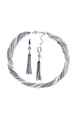 Комплект украшений серо-синий (длинные серьги из бисера, бусы из бисера 24 нити)