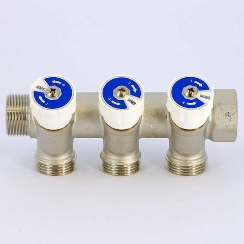 Коллектор НВ 3/4' 3х3/4 EK H 40мм никелированный с вентилями Uni-Fitt