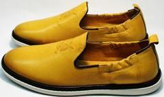 Красивые модные туфли в стиле кэжуал слипоны мужские лето King West 053-1022 Yellow-White.
