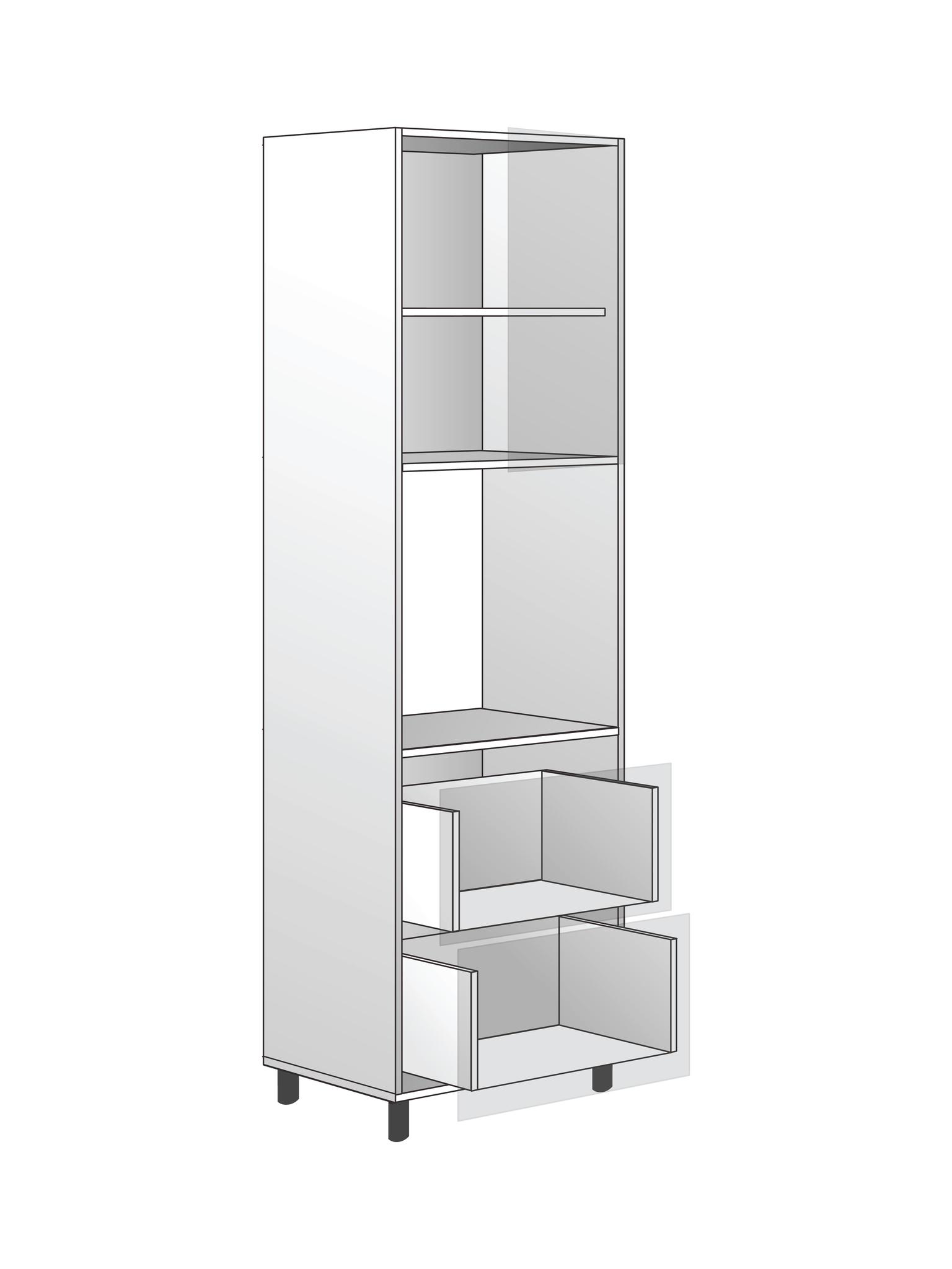 Напольный  шкаф для духовки c полкой и 2 ящиками, 2040Х600 мм