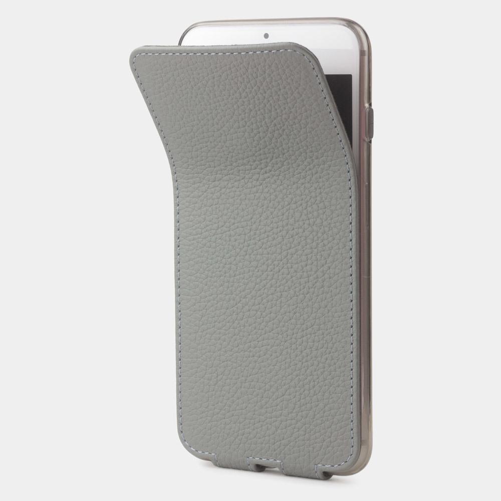 Чехол для iPhone 8 Plus из натуральной кожи теленка, стального цвета