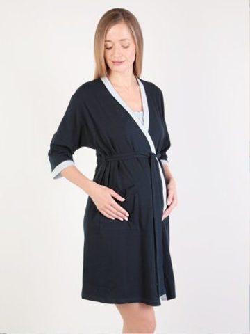 Euromama/Евромама. Комплект для беременных и кормящих двухцветный, рукав 3/4, темно-синий