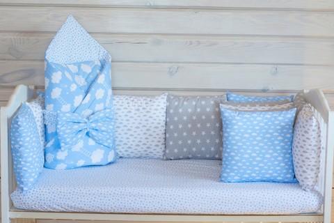 Комплект в кроватку Серо-голубой