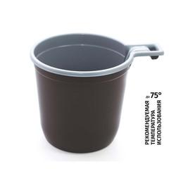 Чашка одноразовая кофейная Бюджет пластиковая коричневая/белая 200 мл 1250 штук в упаковке
