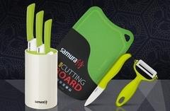 Набор из 3-х ножей из керамики с браш-подставкой, овощечисткой, фрутоножиком и доской. арт. SKC-005G