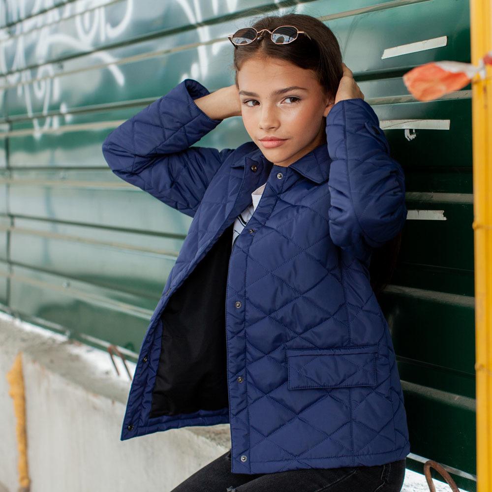 Демисезонная синяя куртка на подростка девочку