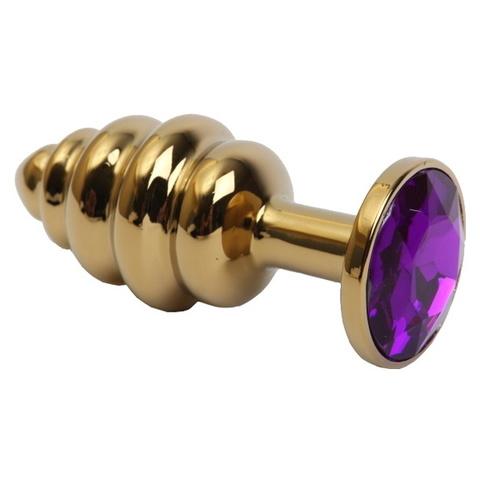 Золотая анальная пробка рельефная с фиолетовым кристаллом средняя