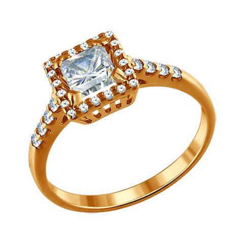 93010383- Кольцо из золочёного серебра с фианитами от SOKOLOV