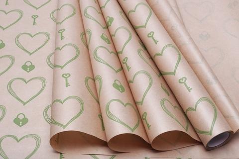 Бумага крафт 40г/м2, 70 см x 10 м, Ключ и сердце, цвет: зеленый