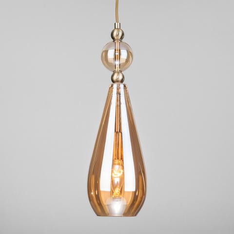 Подвесной светильник со стеклянным плафоном 50202/1 янтарный