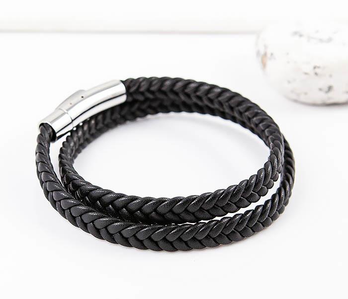 BM566-1 Двойной браслет шнур из кожи черного цвета фото 03