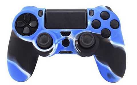 PS4 Чехол для геймпада DualShock 4 (камуфляж синий) + накладки